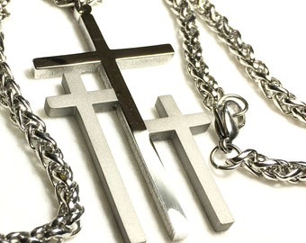 3 Crosses of Calvary Silver Gold Limited Edition Necklaces Large Pendant for Men Boys Heavy Braided Chain Cross of Jesus Jewelry jewellery