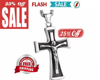 Heavy Silver Cross Crucifix Necklace for Men Solid Cast Stainless Steel Silver Black Cross 2 Color Super Heavy Chain Jesus Jewelry Jewellery