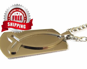 Silver Fish Necklace for Men Dog Tag Ichthus Greek Medallion Pendant Heavy Chain jewelry store jewellery High Gloss Hand Polished