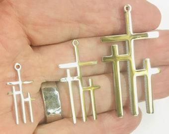 3 Crosses of Calvary Triple Cross Necklace in 3 Sizes Choker Pendant Wheat Chain Jesus Woman Men Love Jewelry Jewellery
