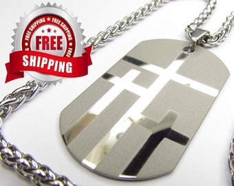 Silver Necklace for Men 3 Crosses Dog Tag Cross of Calvary Triple Cross Pendant Stainless Steel Chain Christian Jewelry jewellery