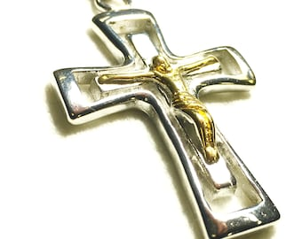 Silver Gold Cross Necklace Heavy Chain Choker for Men Crucifix Outline Stainless Steel 2 Color Super Heavy Chain Cross of Jesus Jewelry