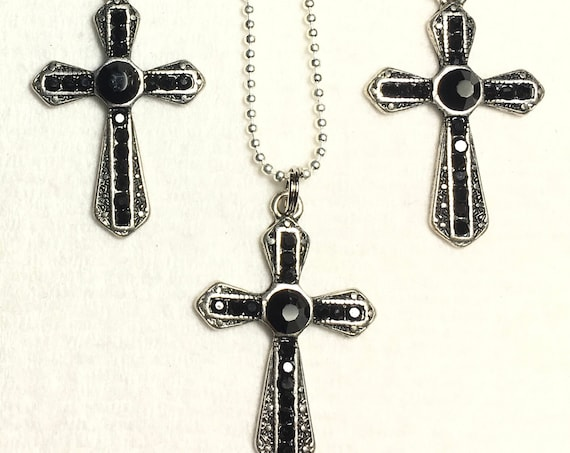 Black Rhinestone Cross Earrings Necklace Set Antique Filigree Crystal Inset CZ Look Woman Girls Chain Wedding jewellery Jewelry