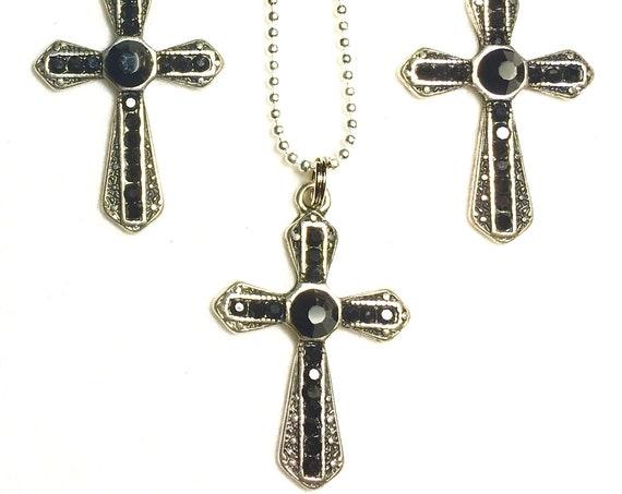 Black Rhinestone Cross Earrings Necklace Set Antique Filigree Crystal Inset CZ Look Woman Girls Chain Wedding jewellery Jewelry