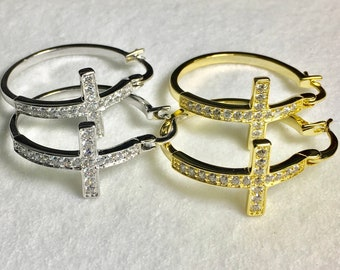 Silver Gold Cross Hoop Earrings Cuff Earrings Rhinestone Medium Sized Modern CZ Look Fashion for Women Girls Cross Jesus Jewelry jewellery