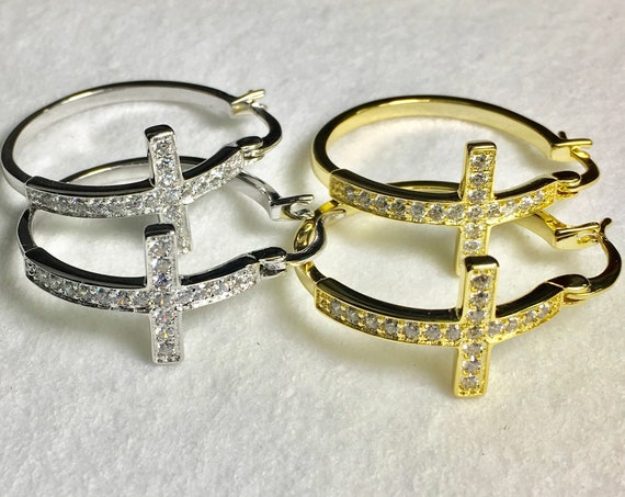 Cross Hoop Earrings Cuff Earrings Rhinestone Silver Gold Medium Sized Modern CZ Look Fashion for Women Girls Cross Jesus Jewelry jewellery