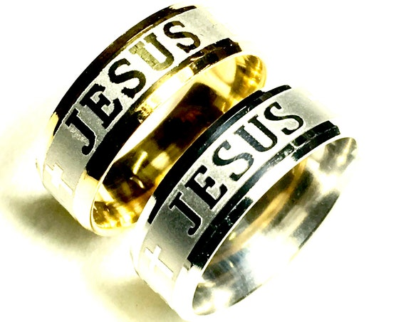 Rings Silver Gold Wide Cross of Jesus Name 8mm Width Stainless Steel Band Rings for Men Boys Women Girls Wedding Rings Jewelry Jewellery