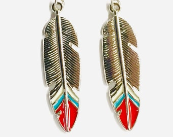 Feather Earrings Silver Castings Red Teal Multi Colored Bohemian Boho Hippie Woman Cross Girls Drop Dangle Jewelry Jewellery