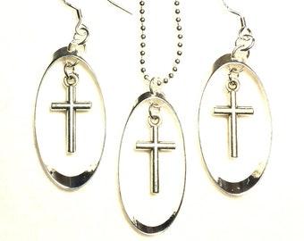 Silver Cross Earrings Hoop & Hollow Cross Earring Necklace Pendnat Drop Dangle Set Women Girls Christian Jewelry - Saint Michaels Jewelry