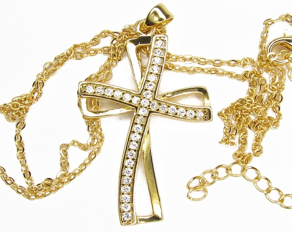 Silver Classic Hollow Swirl Infinity Cross Necklace Pendant Inset Rhinestones