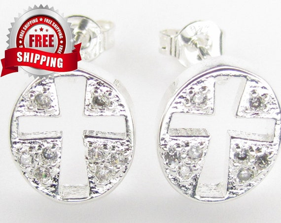 Silver Cross Earring Cast Oval Hollow Crosses Elegant Sparkling Rhinestones Modern Womans Girls Christian Jewelry Jewellery