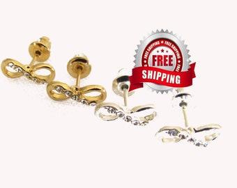 Infinity Earring for Girls Stud Elegant Sparkling Rhinestones Modern Womans Girls Christian Jewelry Jewellery