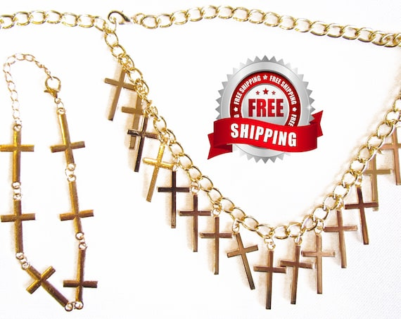 Gold Multi Cross Necklace and Bacelet Sideways Cross Bangle Set for Woman Girls Christian Cross of Jesus Jewellery jewelry