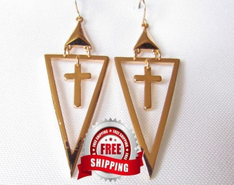 Cross Earrings Hollow Triangle Shape Hoop Silver Gold Vintage Style Dangle Drop Earring for Women Jewelry for Girls jewellery
