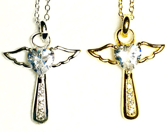 Angel Cross Necklace Silver Gold Wing Rhinestone Design Cross of Jesus Pendants Women Necklace Christian Jewelry jewellery