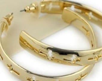 Cross Hoop Earrings for Women Weddings Boho Hippie Hollow Cut Crosses Entire Hoop Stud Design Post Cross of Jesus Jewelry Girls Jewellery