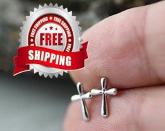 Dainty Cross Earrings Small Silver Cast Stud Modern Design Women Girls Christian Jewelry jewellery Cross of Jesus