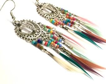 Feather Earrings Silver Gold Rainbow Cross Multi Colored Bohemian Boho Hippie Woman Cross Girls Drop Dangle Christian Jewelry Jewellery