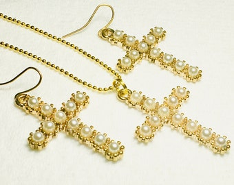 Pearl Gold Cross Earrings and Necklace Pearlescent Cast Cross Pendant for Woman Girls Wedding Christian Jewelry jewellery