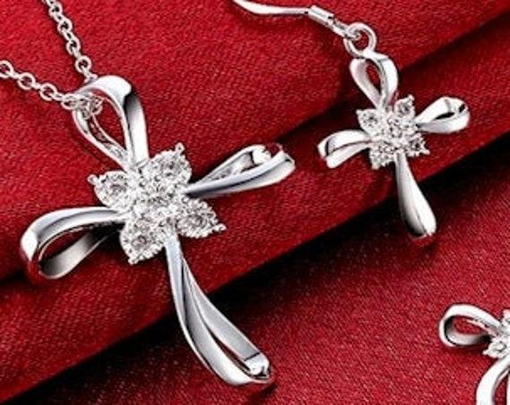 Silver Infinity Cross Necklace and Earrings Swirl Infinity Cross Pendant Inset CZ Crystal Rhinestones Drop Dangle Hope Wedding Set jewellery