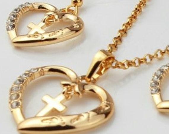 Gold Heart Necklace Jesus Footprints Interior Cross Crystal Rhinestones Petite Interior Cross Drop Dangle Earrings Pendant Crystals Wedding
