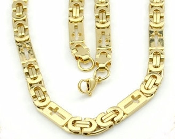 Byzantine Cross Bracelet Necklace Chain Gold Heavy Hollow Cross Style Links Jewelry for Men jewellery for Weddings boys