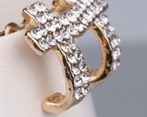 Gold Cross Earrings Stud Silver Gold Two Row Rhinestones Cuff Earrings Post Classic Crosses Modern Womans jewellery Girls Christian Jewelry