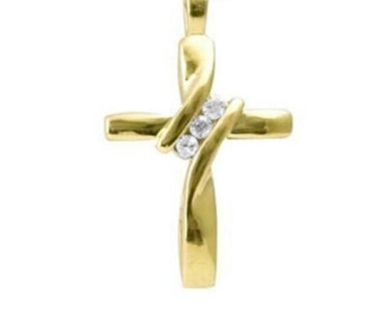 Twist Gold Cross Crystal Necklace for Women 2 Rhinestone with CZ Look Modern Petite Cross of Jesus Girls Chain Wedding jewellery Jewelry