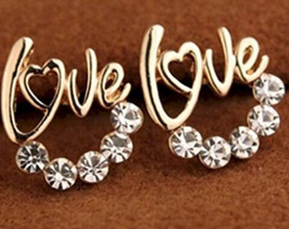 Love Earrings Elegant Sparkling Rhinestones Silver Gold Stud Post Modern Womans Girls Christian Jewelry