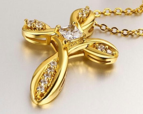 Modern Gold Classic Infinity Twist Cross Crystal Rhinestone Gold Necklace Woman Girls Chain Christian Jewelry
