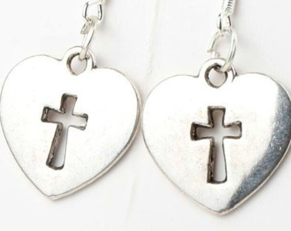 Silver Heart Earrings and Necklace Hollow Cross Cast Pendant for Woman Girls Christian Jewelry - Saint Michaels Jewelry jewellery