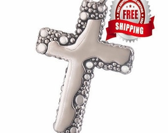 Silver Cross Choker Necklace for Men Cast Cross of Jesus Freeform Stainless Steel Exclusive 4mm Braided for Girls Boys Christian Jewelry