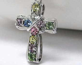 Mixed Color Cross Necklace Silver Crystal Multi Colored Rhinestone Pendant for Girls Women with Chain Christian Jewelry jewellery Fashion