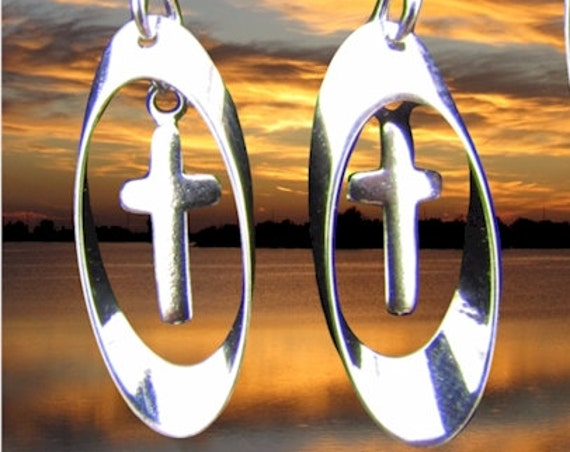 Silver Cross Earrings Tiny Hoop Cross Earring and Necklace Set Small Drop Dangle Womans Girls Christian Jewelry Jewellery