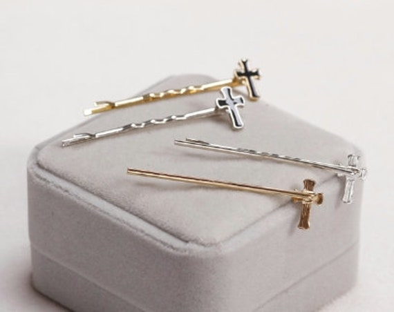 Gold Silver Cross Bobby Pins Pair Hair Barrette Clips Jewelry Barrettes in Hair Bobby-pin Hairstyles Accessories jewellery