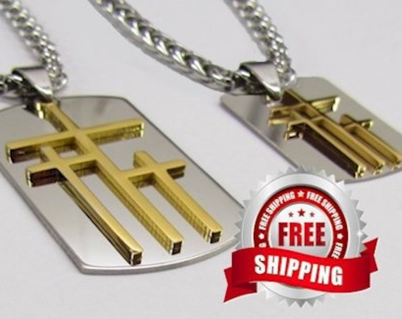 3 Crosses Dog Tag Silver Gold Calvary 3 Triple Cross Medallion Stainless Steel Heavy Braided Chain Three Crosses on Calvary Cross Jesus