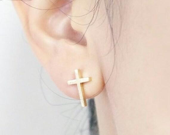 Dainty Cross Stud Earrings for Girls Women Silver Gold Cross Post Earrings Wedding Jewelry Simple Cross jewellery