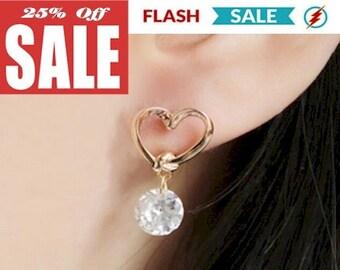 Gold Heart Earrings Zircon CZ Stud Earrings Dainty Posts with Dazzeling Heart Jewelry for Girls Weddings Bridesmaids jewellery for Women