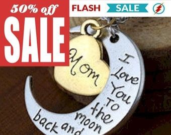 I love You to The Moon and Back Necklace Silver Gold Pendant in 3 Styles Jewelry Jewellery
