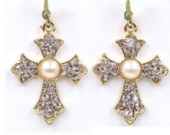 Gold Pearlescent Earrings for Weddings Rhinestone Studded Cross Earring for Woman Girls Wedding Christian Jewelry jewellery