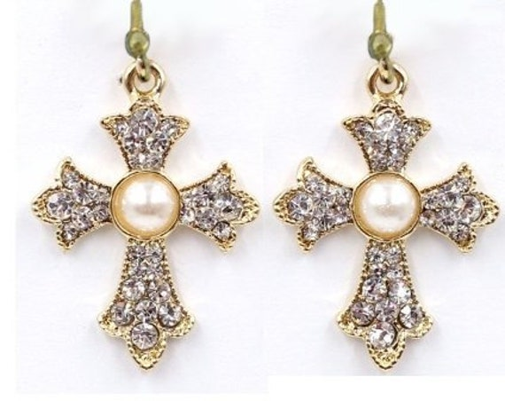 Gold Pearlescent Earrings for Weddings Rhinestone Studded Cross Earring for Woman Girls Wedding Christian Jewelry jewellery