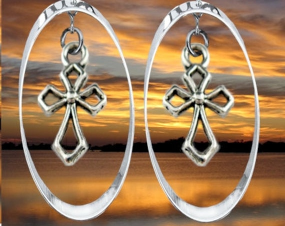 Silver Hoop & Hollow Cross Earring Necklace Pendnat Drop Dangle Set Women Girls Christian Jewelry - Saint Michaels Jewelry