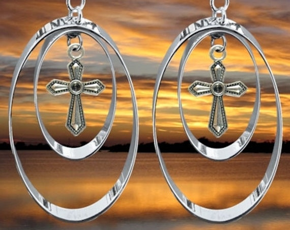 Silver Double Hoop Cross Earrings Necklace Pendant Set Drop Dangle Womans Girls Christian Jewelry - Saint Michaels Jewelry