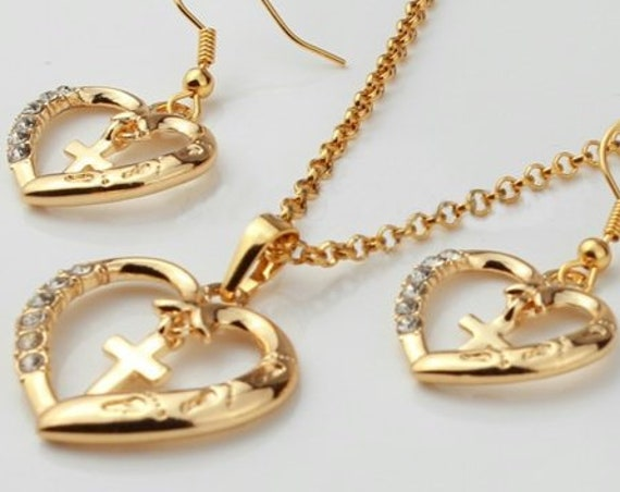Gold Heart Jesus Footprints Crystal Rhinestones Petite Interior Cross Drop Dangle Earrings Pendant Hope Inlaid Crystals Wedding WOMEN