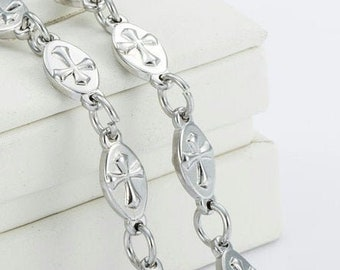 Silver Oval Raised Sideways Cross Link Chain Necklace and Bracelet Fabulous Raised Horizontal Cross of Christ Heavy Stainless Steel Chain