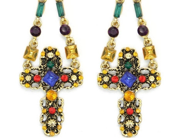 Multi-Color Dangle Earrings and Necklace Baroque Designs Hippie Wild Style Colored Rhinestones Women Drop Jewelry Cross of Jesus jewellery