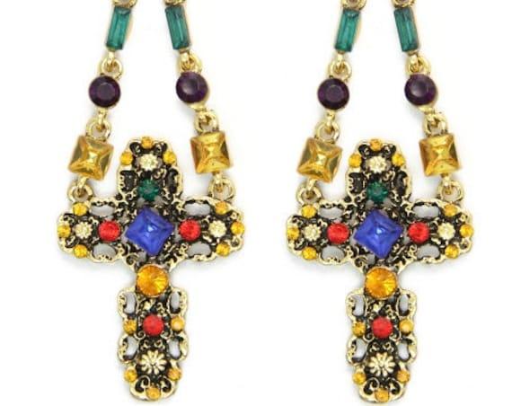 Multi-Color Baroque Hippie Earring Necklace Wild Style Rhinestone Women Drop Dangle Christian Jewelry