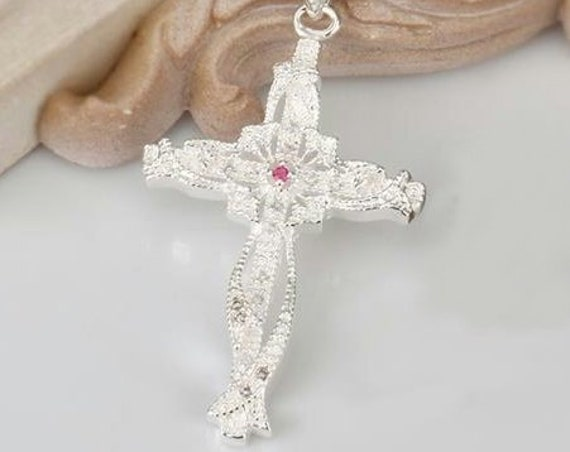 Silver Beautiful Cross Infinity Weave Rhinestones Statement Sterling Silver Plated Pendant Necklace with Chain