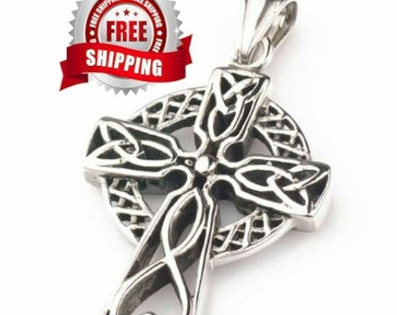 Irish Cross Necklace Celtic Knot Super Heavy Silver Cast Large Irish Cross Vintage Filigree Viking Super Heavy Braided Rope Chain Jewelry