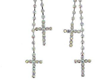 Cross Earrings Double Tassel Boho Dangle Dichroic Wedding Party Aurora Borealis Rhinestone Crystal Inlaid Cross of Jesus Jewelry Woman Girls